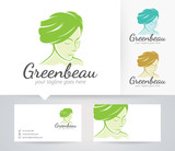 Green Beauty vector logo with alternative colors and business card template