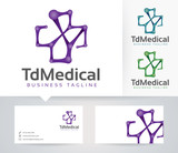The Medical vector logo with alternative colors and business card template