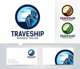 Travel Ship vector logo with alternative colors and business card template