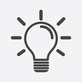 Light bulb icon in white background. Idea flat vector illustration. Icons for design, website. - 116550890
