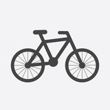 Bike silhouette icon on white background. Bicycle vector illustration in flat style. Icons for design, website.