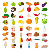 Fototapety Set of icons with food and drinks for restaurant or commercial. Vector