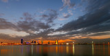 A beautiful view of Bahrain skyline during night and its reflect