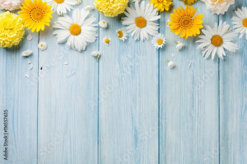 Garden flowers over wood Poster