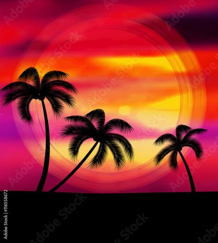 Foto op Canvas Baksteen Vector summer vacation
