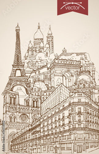 In de dag Art Studio Engraving vintage hand drawn vector France Paris travel Sketch