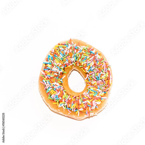 Poster glazed donut, view form the top,  isolated on white background