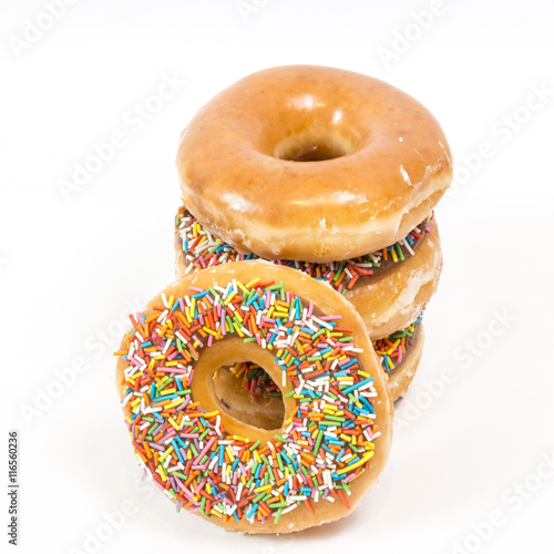 Poster Colorful glazed donuts, isolated on white background