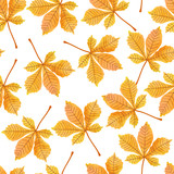Watercolor autumn chestnut leaves seamless pattern. Vector autumn background.
