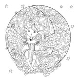 Vector cute fairy girl in flowers