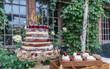 Naked wedding flower cherry cake