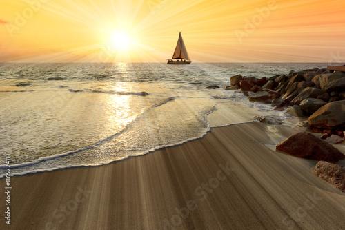 Sailboat Sunset Sun Rays Poster