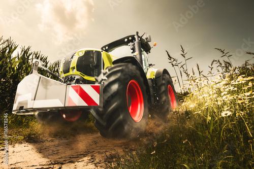 Poster Traktor auf Mais Feldweg