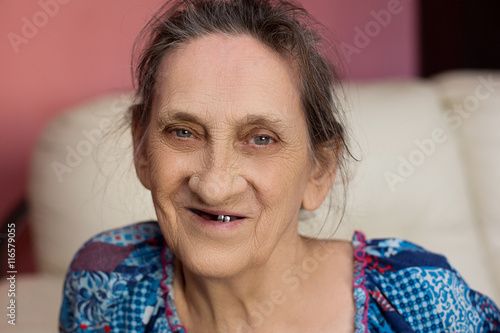 Close up face of beautiful smiling woman with wrinkles Poster
