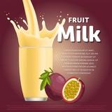 Passion fruit sweet milkshake dessert cocktail glass fresh drink in cartoon vector illustration