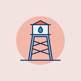 Water tower flat icon