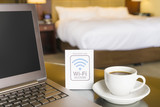 Hotel room with wifi access sign - 116587825