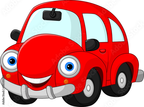 Fotobehang Auto Cartoon funny red car