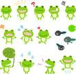カエルのキャラクターのイラストセット