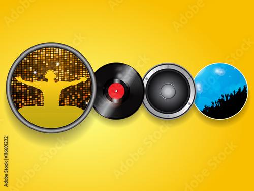 Obraz DJ vinyl speaker and crowd background