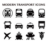 Fototapety various transportation icon set, including cars, trains, subway, monorail, linear motor car, airplane, ship, motorcycle