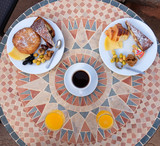 Typical traditional breakfast in Morocco hotels