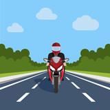 Fototapety Man Ride Motor Bike on Highway , Sport Motorcycle Over Nature Flat Vector Illustration