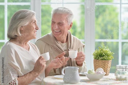 Senior couple drinking tea  Poster
