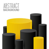 Abstract background with yellow and black cylinders