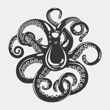 Octopus with arms and suction cups on it, tentacle