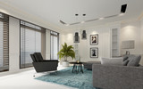 Modern white luxury living room with window blinds