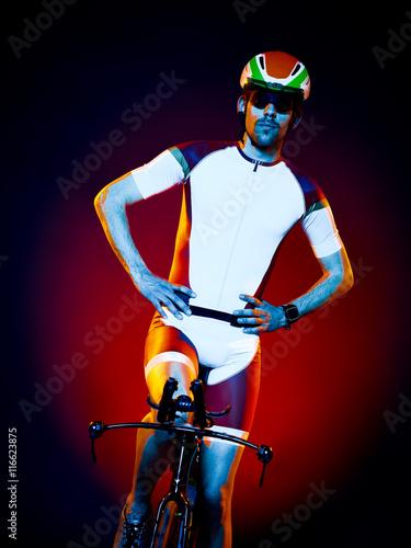 Fototapeta man cyclist cycling bicycle triathlon isolated