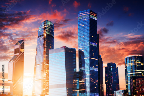 Foto op Aluminium Moskou Moscow-city, Russia. Moscow International Business Center. at sunset