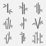 Bamboo icons vector set