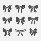 Bows with ribbons vector set - 116632087