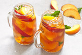 jar of peach tea