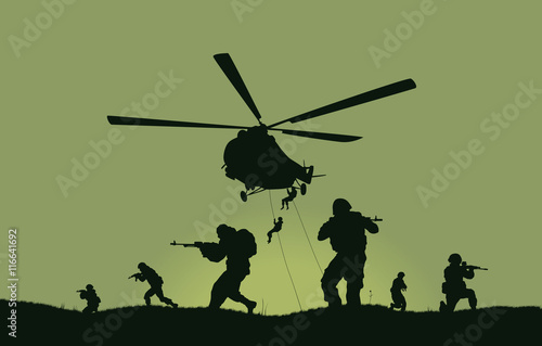 Fototapeta Illustration, the soldiers going to attack and helicopters.
