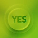 Green yes button with illusion of light and shadow, vector illustration - 116652290