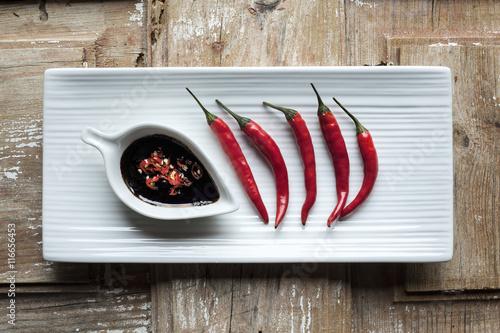 Fotobehang Hot chili peppers Sauce piquante
