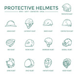 Fototapety Protective Helmets Icons