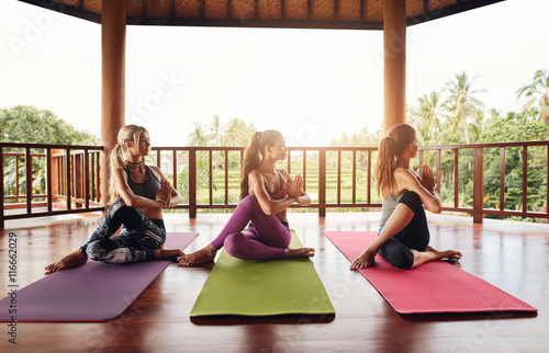 Healthy young women practicing yoga Poster
