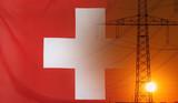 Energy Concept Switzerland Flag with sunset power pole