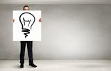 Man presenting idea . Mixed media