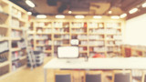 Fototapety Blurred abstract interior background. blur library room  for your design - vintage color style