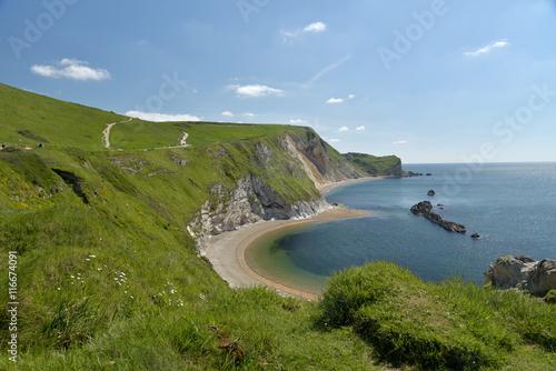 Poster Saint Oswalds Bay near Lulworth Cove on Dorset coast