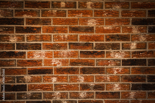In de dag Red brick wall texture grunge background with vignetted corners, may use to interior design
