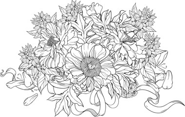 bunch of flowers with ribbons. Coloring page.