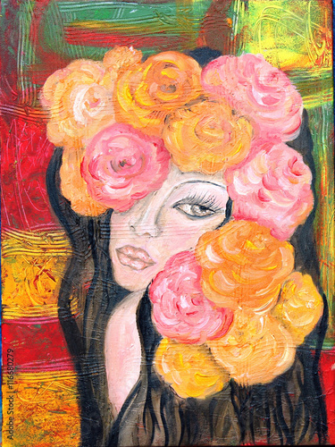 Girl with roses portrait oil painting on abstract background © onanana