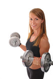 Lovely fitness trainer with dumbbells