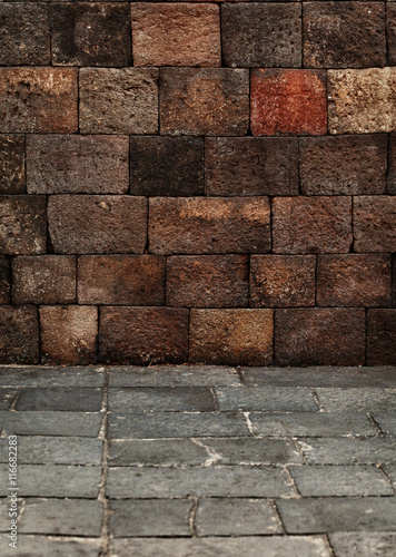 Poster Industrial geb. Stone blocks wall and floor - medieval architecture